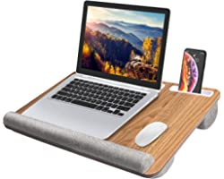 """HUANUO Laptop Tray with Cushion, Laptop Lap Desk, Lapdesk Fit up to 17"""" Laptops, with Tablet, Pen & Phone Holder & Wrist Pad,"""