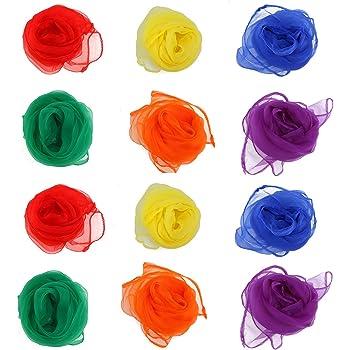 NUOLUX Multi-Color Foulards Ourlé Jonglage Foulards Danse 12pcs (couleur  assortie) 2a33be01329