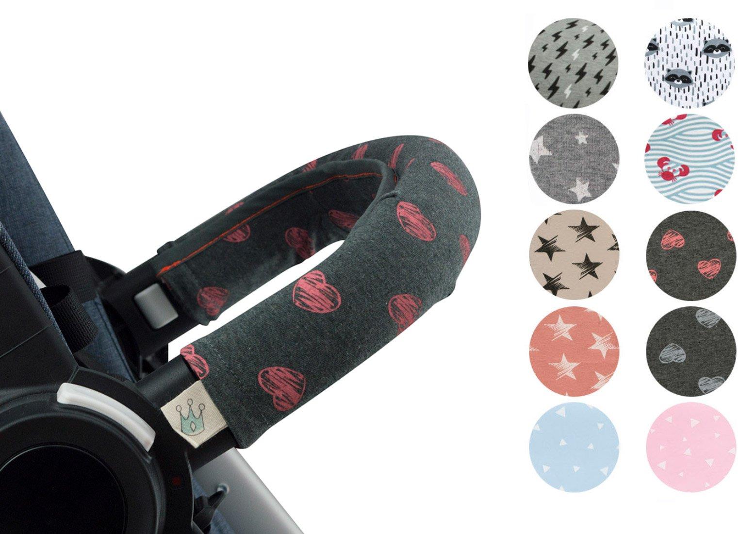 Copri maniglia, copri ringhiera per passeggino Janabebe® (Fluor Heart)