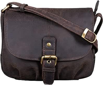 STILORD 'Iris' Leder Handtasche Damen klein Vintage Umhängetasche zum Ausgehen Klassische Abendtasche Partytasche Freizeittasche Echtleder