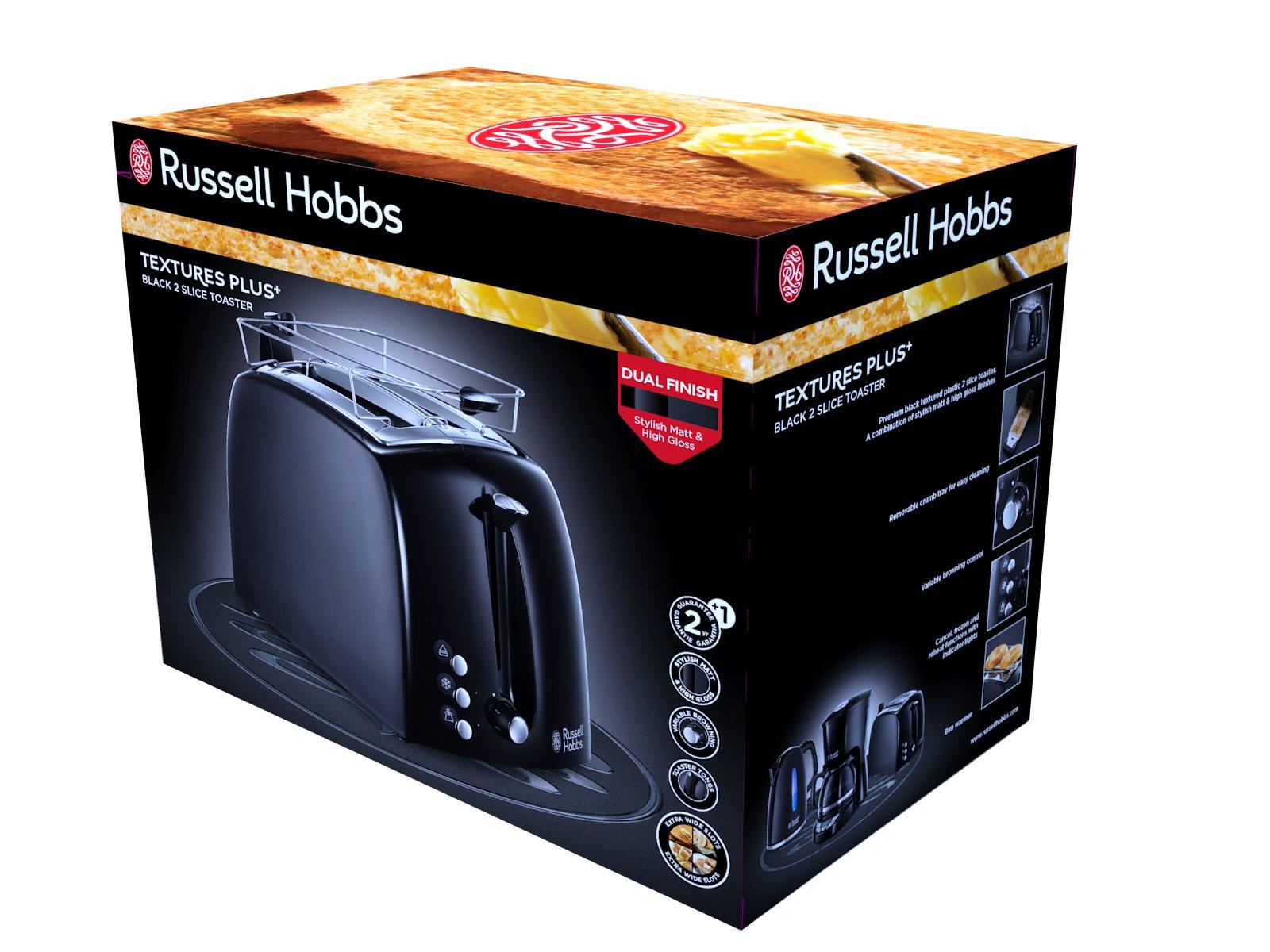 Russell-Hobbs-Toaster-Textures-2-extra-breite-Toastschlitze-Brtchenaufsatz-integrierte-Toast-Zange-6-einstellbare-Brunungsstufe-Auftau-Aufwrmfunktion-850-Watt-Toaster-schwarz-22601-56