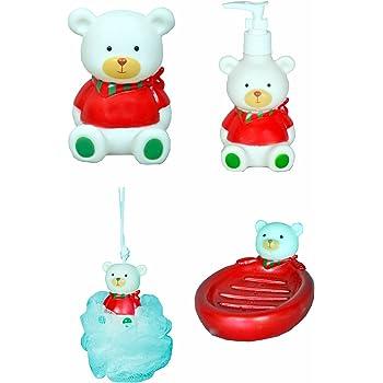 Kids Bathroom Set Soap Dispenser Dish Loofa Toothbrush Holder Red Cartoon Bear