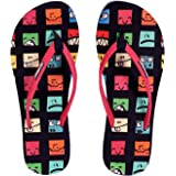 SMILEY | Cute | Fun | Light | Colourful | Printed | Flip Flops for Women | India/UK Size 5 | Navy
