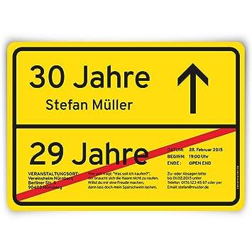Einladungskarten Zum Geburtstag (30 Stück) Als Ortsschild Ortstafel Schild  Straßenschild