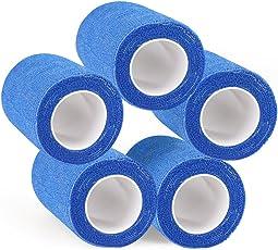 BaconiXfF 5-packs 10CMX5M non tessuto autoadesivo benda elastica, nastro per polso caviglia distorsioni, Vet Coesa Sports Vet Wrap