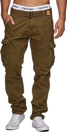 Indicode Uomo William Pantalone Cargo in Cotone con 7 Tasche incl. Cintura | Lungo Regular Fit Pantaloni Casual da Trekking Outdoor per Uomo
