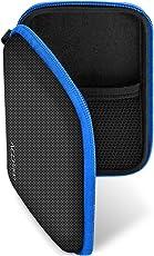 deleyCON Navi Tasche/Navi Case/Tasche für Navigationsgeräte - 4,3 Zoll & 5 Zoll (14,6x9,3x3,4cm) - Robust Stoßsicher 2 Innenfächer - Schwarz/Blau