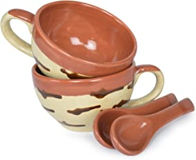Style My Way Handcrafted Studio Pottery Glazed Soup/Maggi Bowl with Spoons–Set of 2
