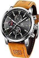 BENYAR Herren Uhr Chronograph Analogue Quartz Wasserdicht Business Schwarz Zifferblatt Armbanduhr mit Edelstahl Armband