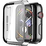 Misxi [2 Pezzi] Trasparente Cover Apple Watch Series 6 / SE/Serie 5 / Series 4 con Vetro Temperato 40mm, Custodia Rigida iWat