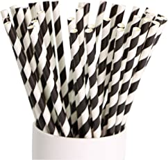 Paper straw - Pack of 100 (6 mm) - Classic black and white stripes - 100% Bio degradable paper straw for party decoration, drinking straws for birthday, celebrations, parties by SOMANI