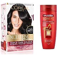 L'Oreal Paris Excellence Creme Hair Colorâ- 1 Black And L'Oreal Paris Colour Protect Protecting Shampoo, 175Ml