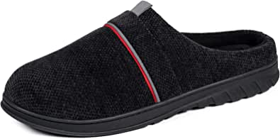 VeraCosy Men's Chenille Knit Breathable Classic Memory Foam Slippers