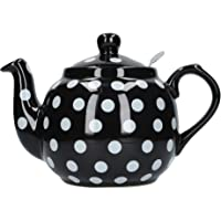 London Pottery Farmhouse Polka Dot Teapot with Infuser, Ceramic, Black/White Polka Dots, 4 Cups (1.2 Litre)