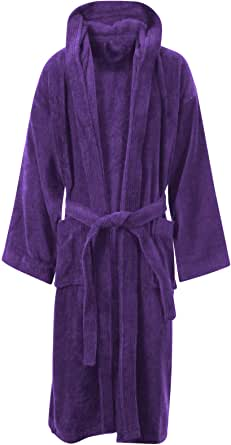MyShoeStore Unisex 100% Luxury Egyptian Cotton Super Soft Velour Towelling Bath Robe Dressing Gowns Bathrobe Terry Towel Housecoat Nightwear Lounge Wears with Pockets and Belt(Hooded Purple,S/M)