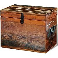 vidaXL Coffre de Stockage Boîte Meuble de Rangement Bois Solide recyclé