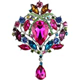 Merdia - Broche de cristal para mujer, diseño de lágrima, multicolor