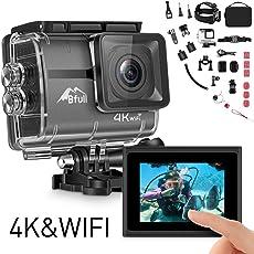 BFULL Action Cam 4K Ultra Full HD Unterwasserkamera 20MP Wifi Action Kamera Wasserdicht Sport Helmkamera 170° Weitwinkel mit 2 Akku und kostenloses Zubehör Kits