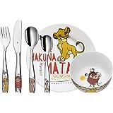 WMF Disney El Rey León - Vajilla para niños 6 piezas, incluye plato, cuenco y cubertería (tenedor, cuchillo de mesa, cuchara