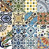 16 Mattonelle MISTE in ceramica smaltata. Pacco contenente 16 mattonelle decorate 15 X 15 cm spessore 0,6 cm - Mattonelle Tunisine realizzate con Serigrafia Artigianale
