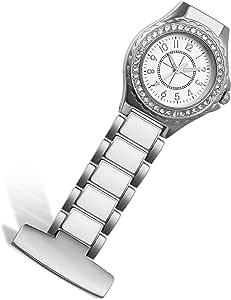 Lancardo Orologio dell'Infermiera Medico, Risvolto Tasca Fibbia dell'Orologio, Quadrante Numeri Arabi, Caso con Strass, Argento