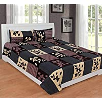 MEHR LINENS RAM's 180 TC Cotton 3D Printed Double Bed BEDSHEET with 2 Pillow Covers (90*90) D5