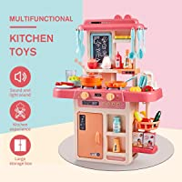 ARHA IINTERNATIONAL Kids 36-Piece Kitchen Playset, with Realistic Lights & Sounds, Play Sink with Running Water,Dessert Shelf Toy & Kitchen Accessories Set for 4 Year Old Girls