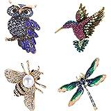 4 Piezas Broches de Mujer, Broche de Cristal En Forma de Animal, Animales Coloridos Broche de Cristal, Broche de Búho, Abeja,