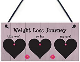 RED OCEAN Weight Loss Tracker Chalkboard Hanging Sign Weight Watchers Progress Plaque