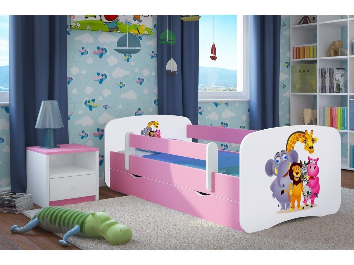 Pink Toddler Girl Bed Kids Bed Junior Children's Single Bed with Mattress and Storage Included - Baby Dreams (Medium (160x80), 9. Zoo)  Wonderhome24