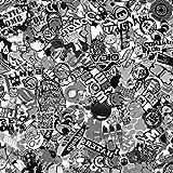 500x150cm Stickerbomb Auto Folie in schwarz / weiß Matt - Sticker Logo Bomb - JDM Aufkleber - Design: SD BW M