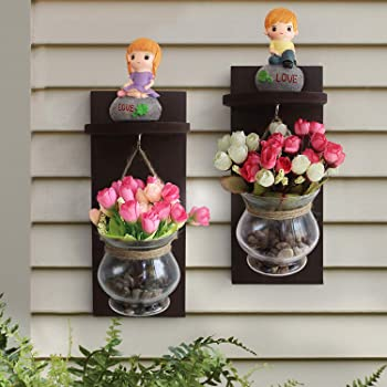 Tied Ribbons Wooden Wall Shelf With Flower Vase And Artificial Flowers Set Of 2 For Living Room (37 Cm X 12 Cm)