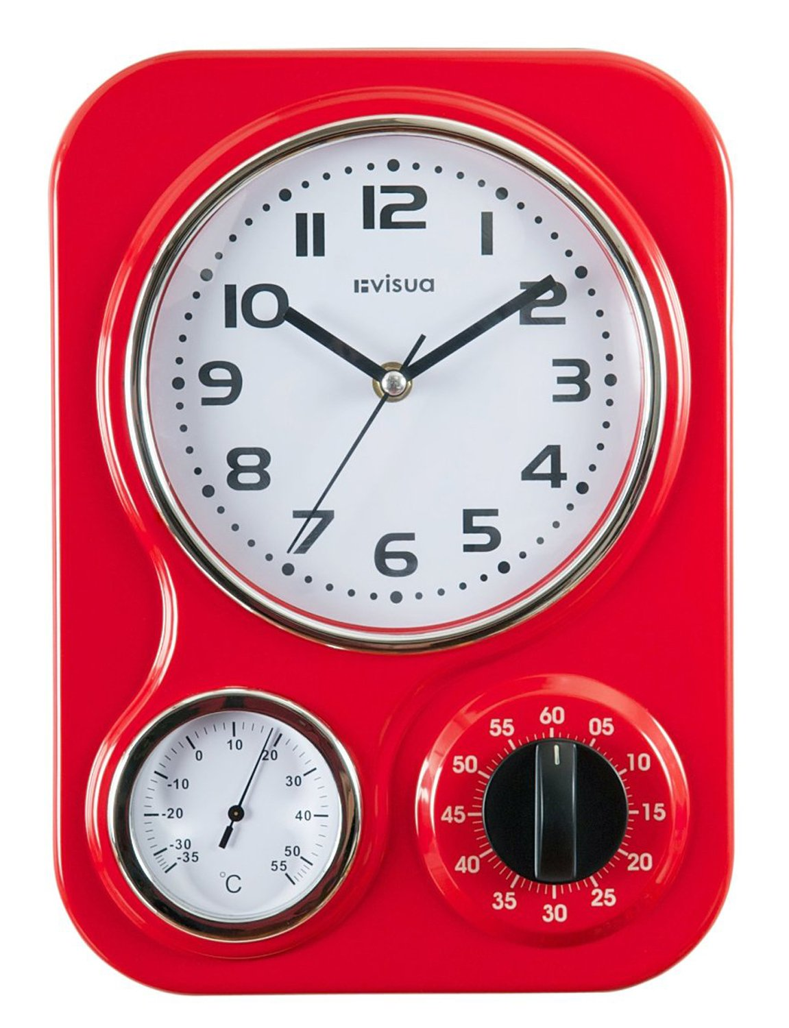 Visua Nia Retro Metal Kitchen Clock With Mechanical Timer And Temperature  Gauge, Red: Amazon.co.uk: Kitchen U0026 Home