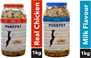 Purepet Combo of Chicken Treats, 1kg & Milk Flavour Treats, 1kg