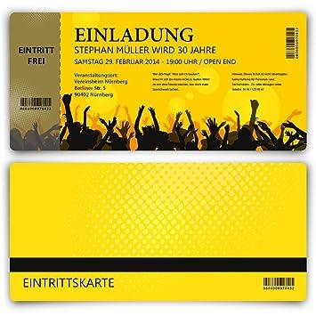 Einladungskarten Zum Geburtstag (30 Stück) Als Eintrittskarte Party Ticket  Karte Einladung