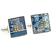 Recycled Shaltungsplatine (circuit board) Manschettenknopf, Quadrat, Blau