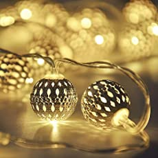TECHNO E-TAIL 20 LED Metal Ball Decoration Lights(Warm White)