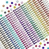 TOAOB 900 Stück Strasssteine Selbstklebend Sticker Bunt Glitzersteine für DIY Handwerk Bilderrahmen Verzieren