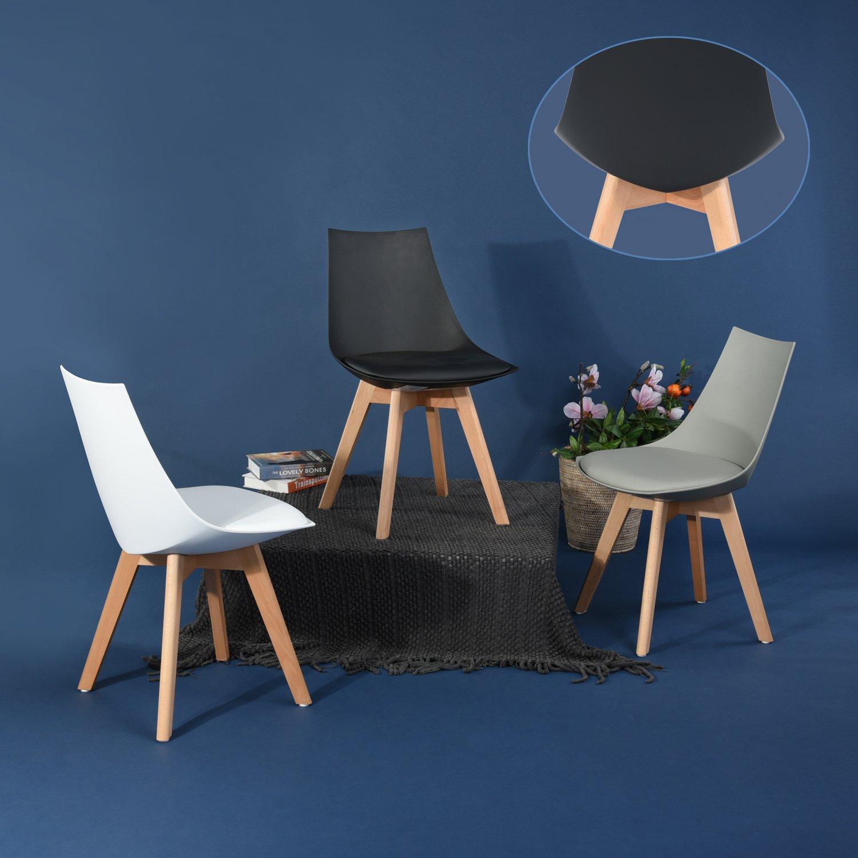 6er Set Holz küchen stühle, EGGREE Retro gepolsterter Bürostuhl mit ...