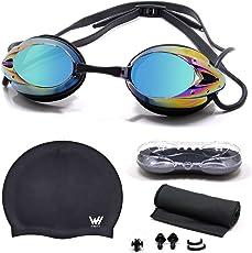 WHCREAT Schwimmbrille Set mit Wasserdichter Tasche & Cooling Handtuch & Badekappe, Conchoidal gespiegelte Schwimmbrille Anti Fog Einstellbare Buckle HD Vision