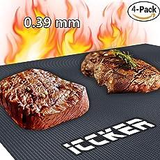 ICCKER Grillmatte, BBQ Grillmatte Wiederverwendbar Antihaft 600 Grad/0.39mm/40 * 33cm PFOA-Frei Groß Zum Grillen und Backmatte Teflon Grillmatten