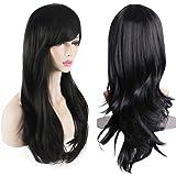 شعر مستعار للنساء من AKStore مقاوم للحرارة 28 بوصة 70 سم طويل مجعد مع قبعة شعر مستعار، أسود