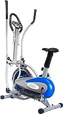 LEEWAY Orbitrek Exercise Elite Cycle  Multi Orbitrac Elliptical Steel Wheel bike  Orbitrack Dual Action / Hand Pulse Orbitrek Exercise Cycle With Seat and Pulse Stand - (Silver & Blue)