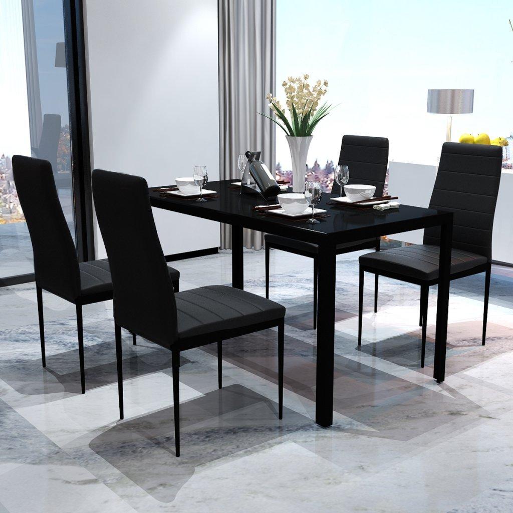 Festnight Set Tavolo da Pranzo/Tavolo cucina con sedie 5 Pezzi Nero -  Arredamento24