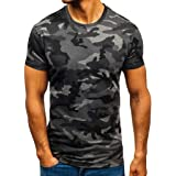 KPILP Mens Military Style T-Shirt Woodland Camouflage Camo T-Shirts Short Sleeve Tops