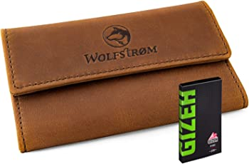 Tabaktasche Leder Wolfstrøm inkl. Gizeh Papers (made in EU) – Tabak-Beutel Drehertasche Magnetverschluss, Filterfach, Blättchenhalter