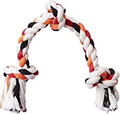PawCloud Nature Cotton Rope Dog Toy with 3 Knots| for Large Dog Breeds | 16 inches | Large |Multicolor