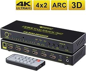 Tendak 4x2 HDMI Matrix Switch Umschalter + Optisch SPDIF Toslink 3,5mm Audio Extractor Unterstützung ARC, 4K, 3D für Blu-ray Player, Xbox, Sky, HDTV