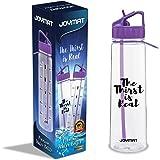 Joymat Motivational Trinkflasche mit Zeitmarkierungen für Damen, Herren und Kinder 900 ml