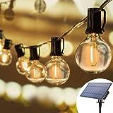 Joomer Solarny łańcuch świetlny do użytku na zewnątrz, 25 ft, z 25 diodami LED G40, wodoszczelne komercyjne lampy wiszące, 4